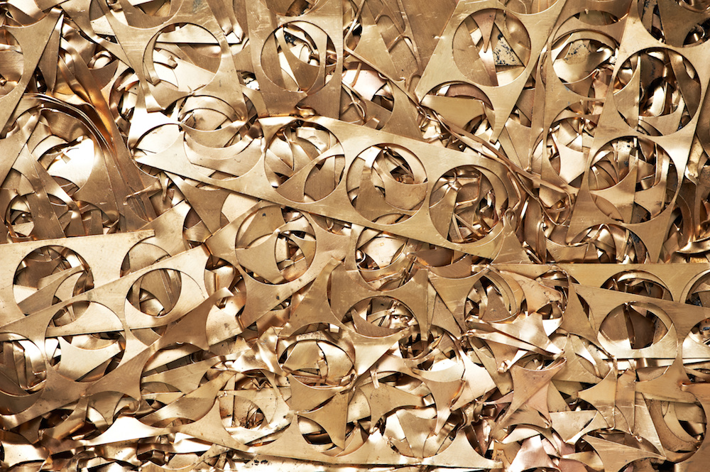 Brass metal scrap materials recycling backround